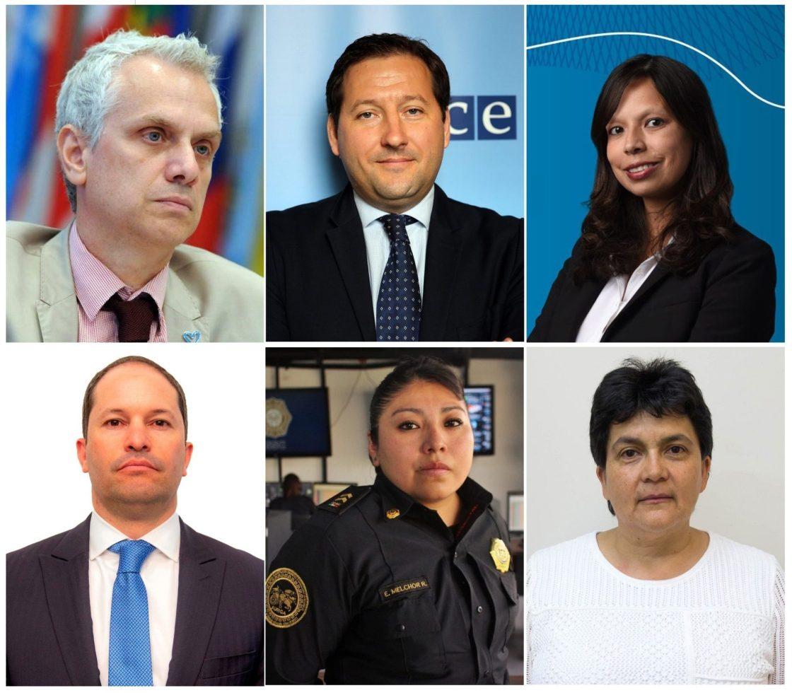 """Combo de fotografías cedidas por el Banco Interamericano de Desarrollo (BID) donde aparecen: (i-d) el jefe de la sección de Trata de Personas y Tráfico Ilícito de Migrantes de la Oficina de las Naciones Unidas contra la Droga y el Delito (UNODC, en inglés), Ilias Chatzis; el responsable de la lucha contra el tráfico de seres humanos de la Organización para la Seguridad y Cooperación en Europa (OSCE), Radu Cucos; la jefa de gabinete y asesora ejecutiva de la Presidencia del BID, Jéssica Bedoya; el director de Migración Colombia, Juan Francisco Espinosa; la responsable del área de prevención de la Dirección General de Investigación Cibernética y Operaciones Tecnológicas de la Secretaría de Seguridad Ciudadana de Ciudad de México, Elizabeth Melchor, y la especialista regional sénior en asistencia y protección a migrantes de la Organización Internacional para las Migraciones (OIM), Águeda Marín, quienes participaron en el """"Segundo Diálogo Técnico de Trata de Personas, que reunió de forma virtual a funcionarios y expertos de Colombia, EE.UU. Israel, México y la República Dominicana, entre otros. La pandemia agudizó la vulnerabilidad de los menores de edad y los migrantes a ser víctima del delito de trata de personas, alertaron este jueves varios expertos en un encuentro organizado por el Banco Interamericano de Desarrollo (BID). EFE/OIM /SOLO USO EDITORIAL/SOLO DISPONIBLE PARA ILUSTRAR LA NOTICIA QUE ACOMPAÑA (CRÉDITO OBLIGATORIO)"""