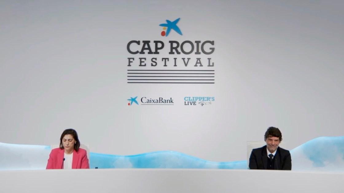 Presentación virtual del cartel de Cap Roig 2021 con la directora de Comunicación y Relaciones Institucionales de CaixaBank, Maria Lluïsa Martínez y el director del festival, Juli Guiu.