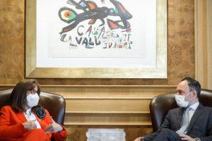 Cumbre Iberoamericana. Encuentro entre la secretaria general de Iberoamerica (SEGIB), Rebeca Grynspan y el presidente del Gobierno de Andorra, Xavier Espot. Foto:SFGA/CEsteve