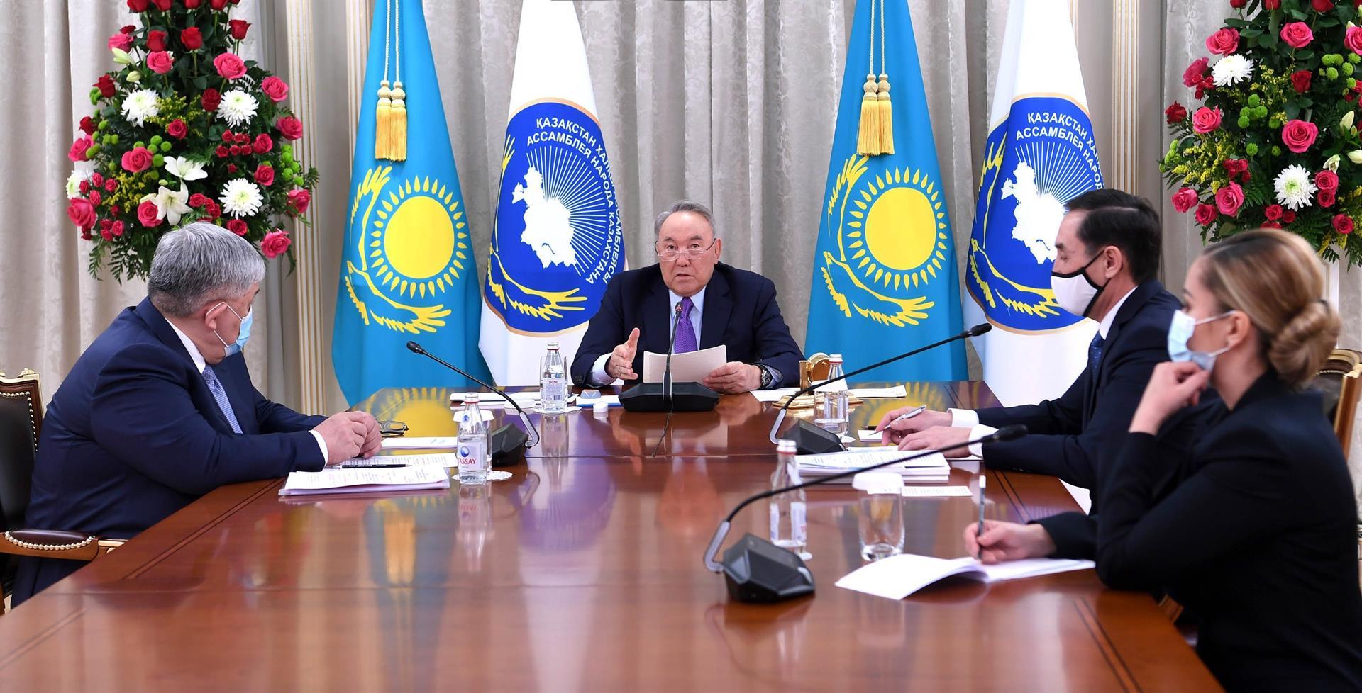 Presidente Nursultán Nazarbáyev durante la la sesión 29 de la Asamblea del Pueblo de Kazajistán. Fotos cedidas por la oficina de Elbasy.