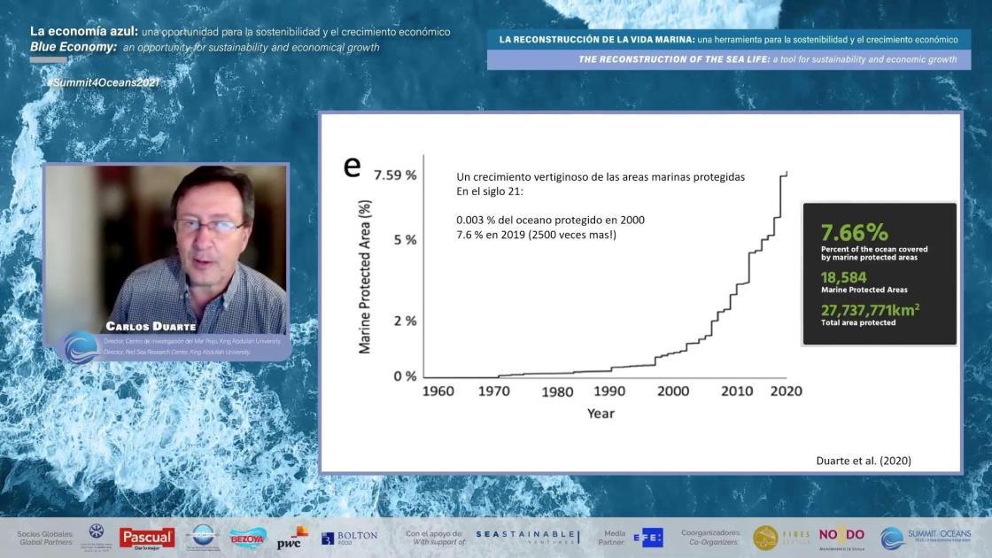 Imagen de la intervención de Carlos Duarte, director del Centro de Investigación de Mar Rojo, King Abdullah University.