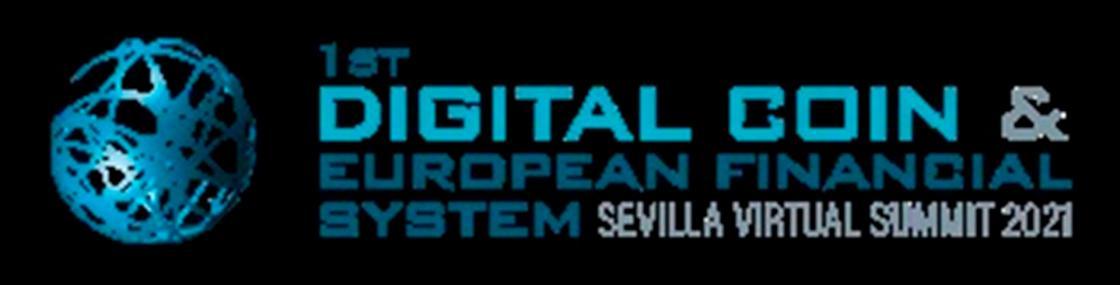 Logo del 1st Digital Coin & European Financial System Sevilla Virtual Summit 2021.