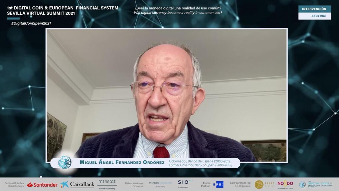 Exgobernador del Banco de España alaba la moneda digital para reducir crisis sistémicas.