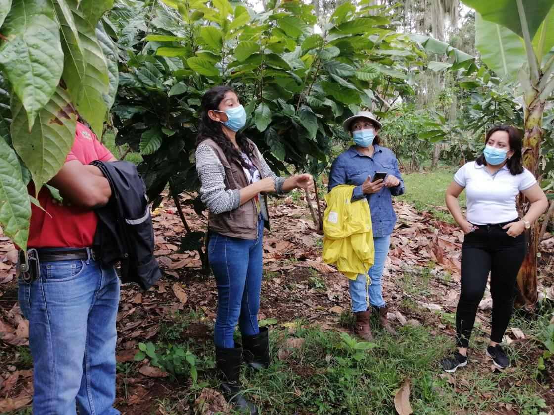 La productora de cacao Yamileth del Socorro Torrez Hernández (c), habla junto a otros productores durante una visita de campo a una finca de cacao en Matagalpa (Nicaragua), hoy, 7 de julio de 2021. LEFE/Judit Vanegas