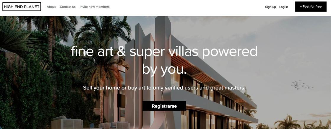 Detalle del marketplace dedicado al sector inmobiliario de lujo HighEndPlanet. CEDIDA