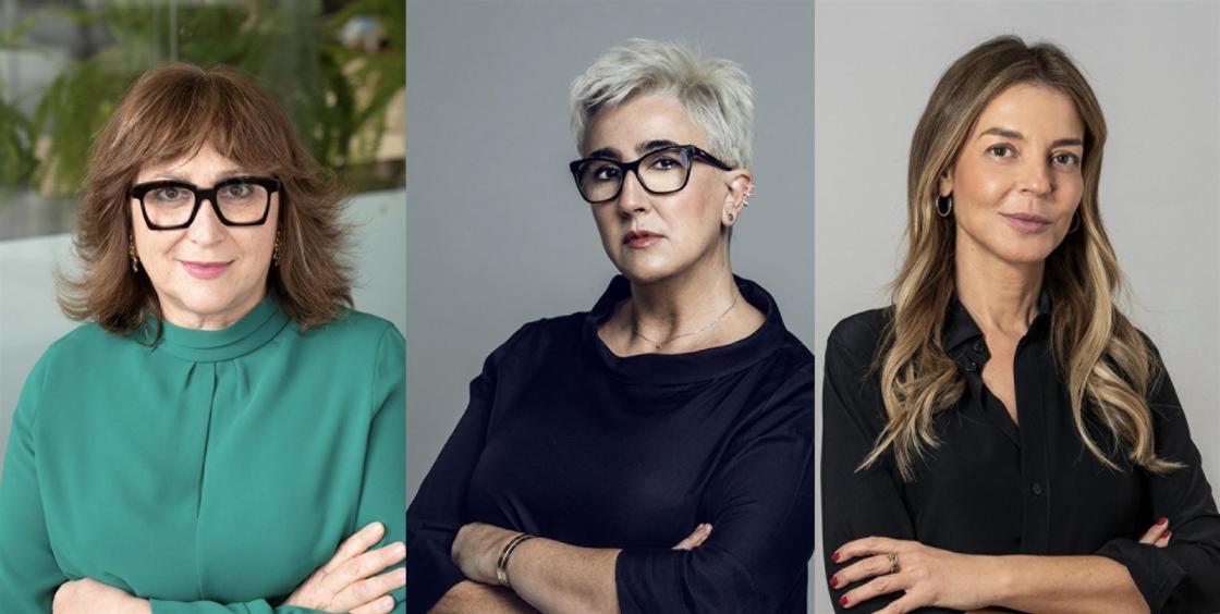 Las CEO de Banijay Iberia, Fremantle y The Mediapro Studio analizarán los desafíos de la industria audiovisual en Iberseries Platino Industria. De izquierda a derecha: Pilar Blasco, Nathalie Garcia y Laura Fernández.