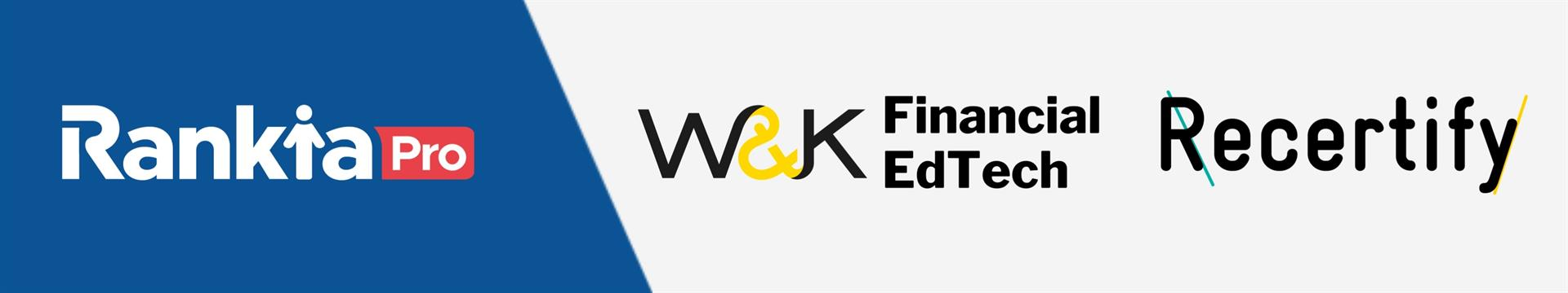 Logos RankiaPro, W&K Financial EdTech y Recertify